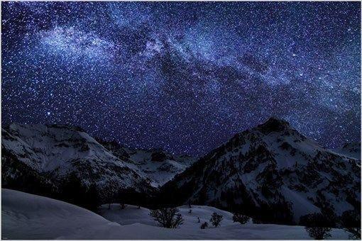 a WINTER NIGHT with MANY STARS inspirational photo poster SKY BEAUTY 24X36