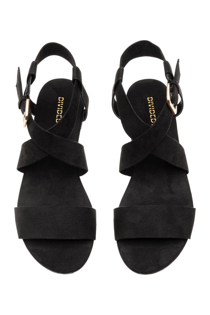 ceeb8b3cdec H M Divided Black Suede Sandals