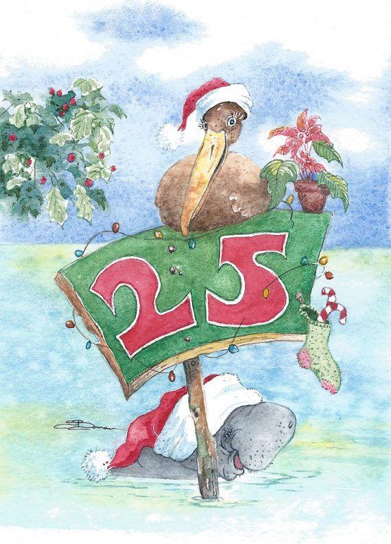 Original watercolor bowman Santas' Channel Markers by happypaints, $25.00