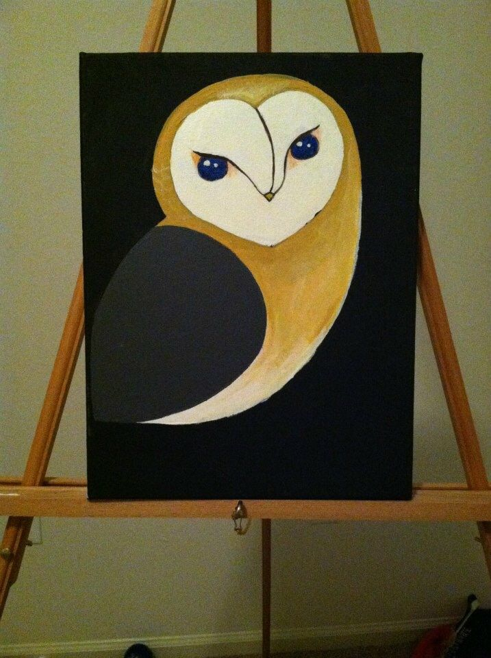owl painting canvas paint artdeco tree acrylic handmade