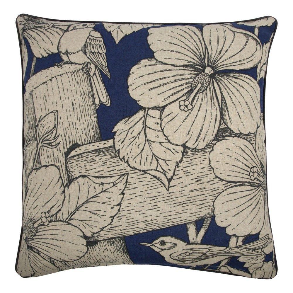 thomas paul flax hibiscus  pillow in indigo  conversational  - thomas paul flax hibiscus  pillow in indigo