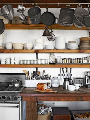 open kitchen shelving — featuring Douglas fir shelving, redwood farm table, pottery barn aged sconce   country living #farmhouse