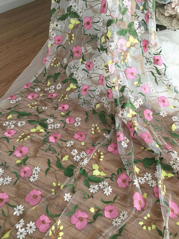 colorful floral embroidery lace fabric off white tulle fabric embroidered lace costume fabric. Black Bedroom Furniture Sets. Home Design Ideas