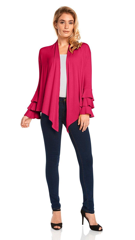 64a2ddfa1e Simlu Womens Open Front Cardigan Sweater Ruffle Long Sleeve Cardigan reg  and Plus Size - Made