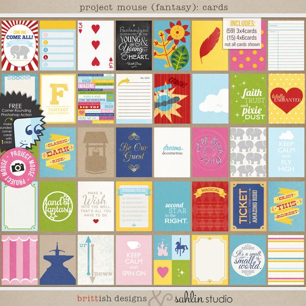 Project Mouse (Fantasy): Journal Cards by Britt-ish Designs and Sahlin Studio - Perfect for documenting your Disney Fantasyland layouts or Project Life album!!
