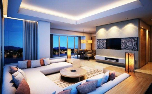 Deckenbeleuchtung Wohnzimmer ~ Indirekte beleuchtung ideen modernes wohnzimmer dekokissen