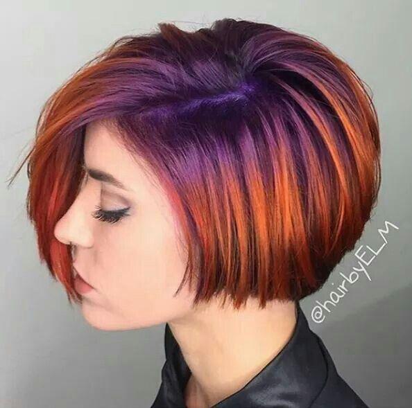 Purple And Orange Hair Hairbyelm Hair Stuff Pinterest Hair