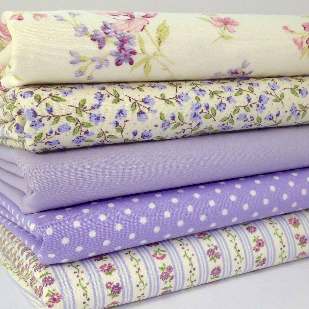 Bundle 4 fat quarters lilac /& ivory florals  100/% cotton fabric//material