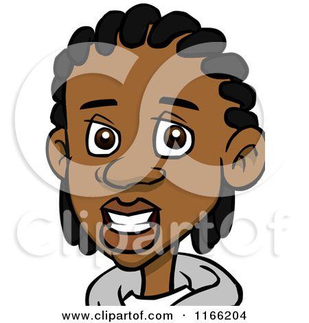 cartoon of a black teenage boy with cornrows avatar royalty free