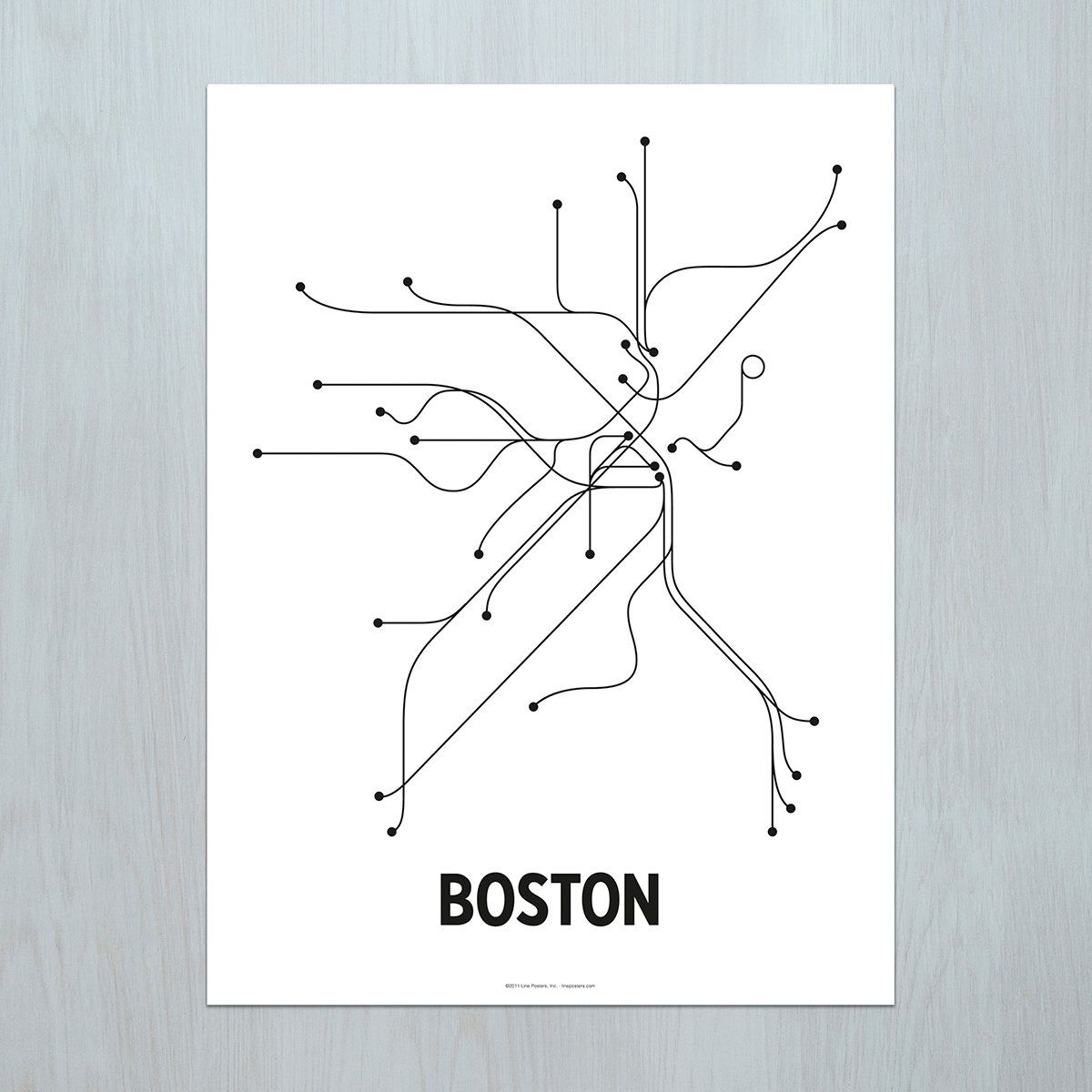 Boston Lithograph - White/Black | Modern