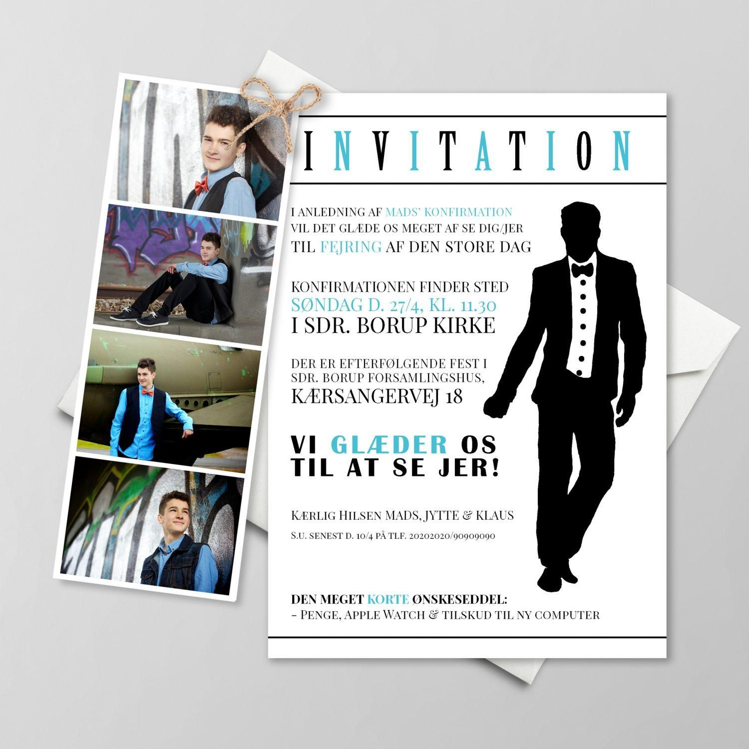 Suit Up Med Billeder Invitation