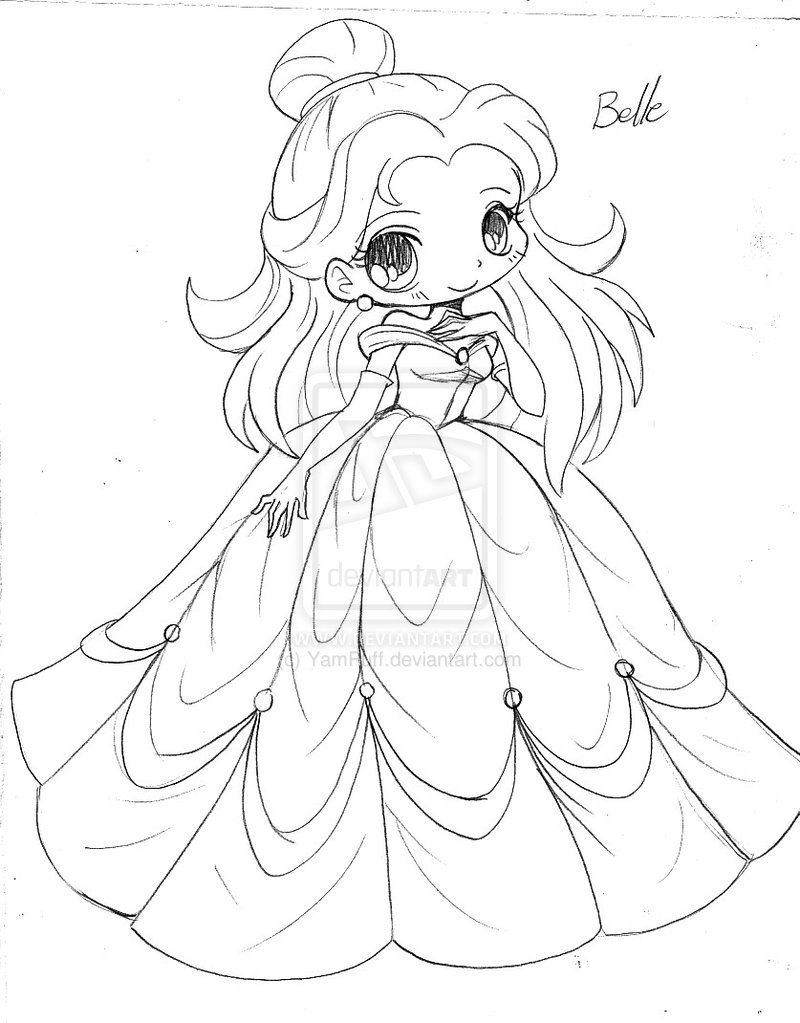 Chibi Princess belle | Beauty and the beast coloring pages to print ...