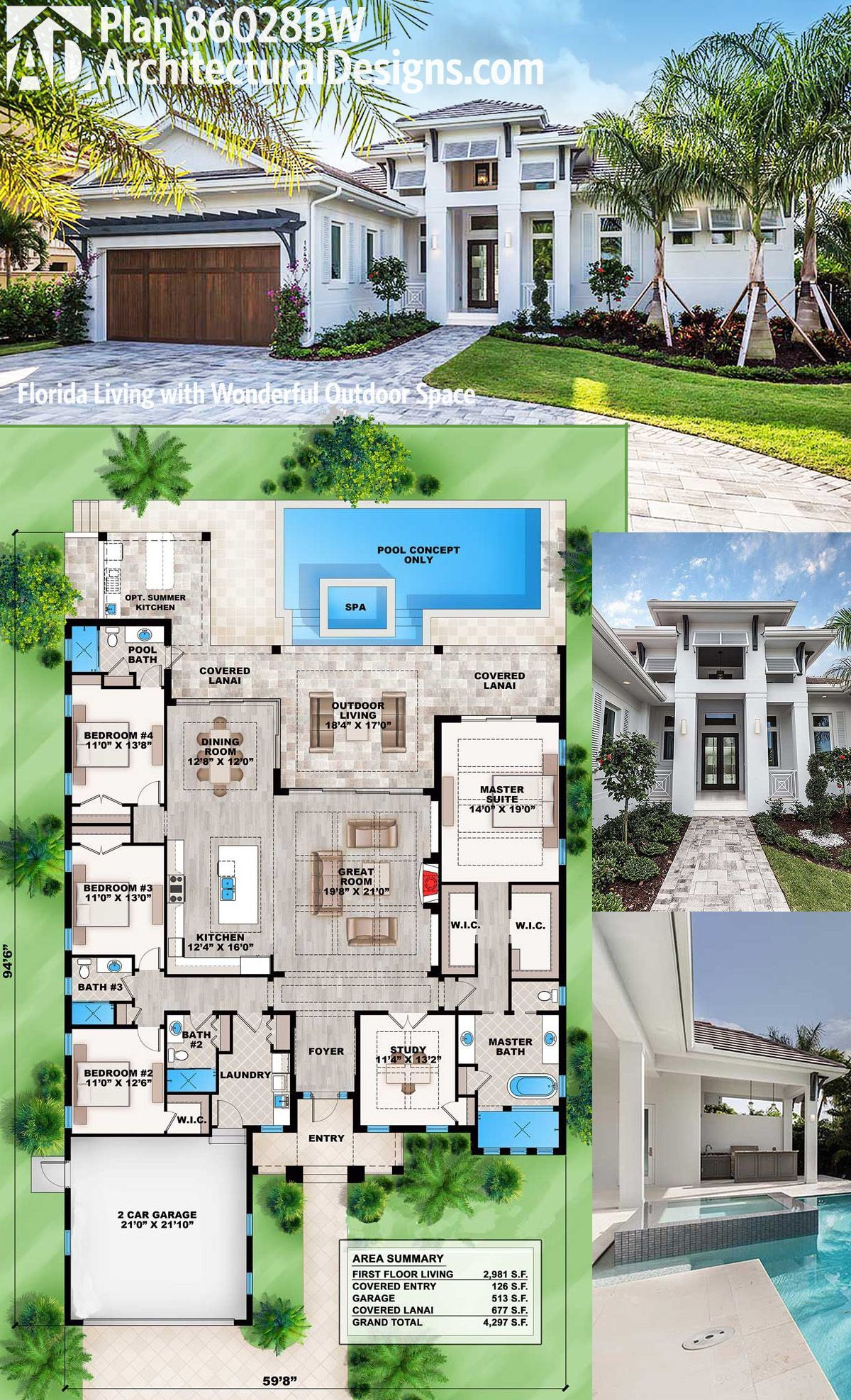 Architectural designs bed modern southern house plan bw looks