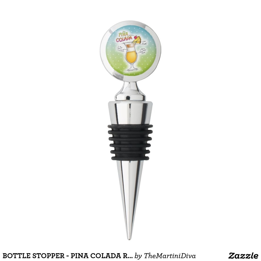 Bottle Stopper Pina Colada Recipe Cocktail Art Zazzle Com Wine Stoppers Wine Bottle Stoppers Bottle Stoppers