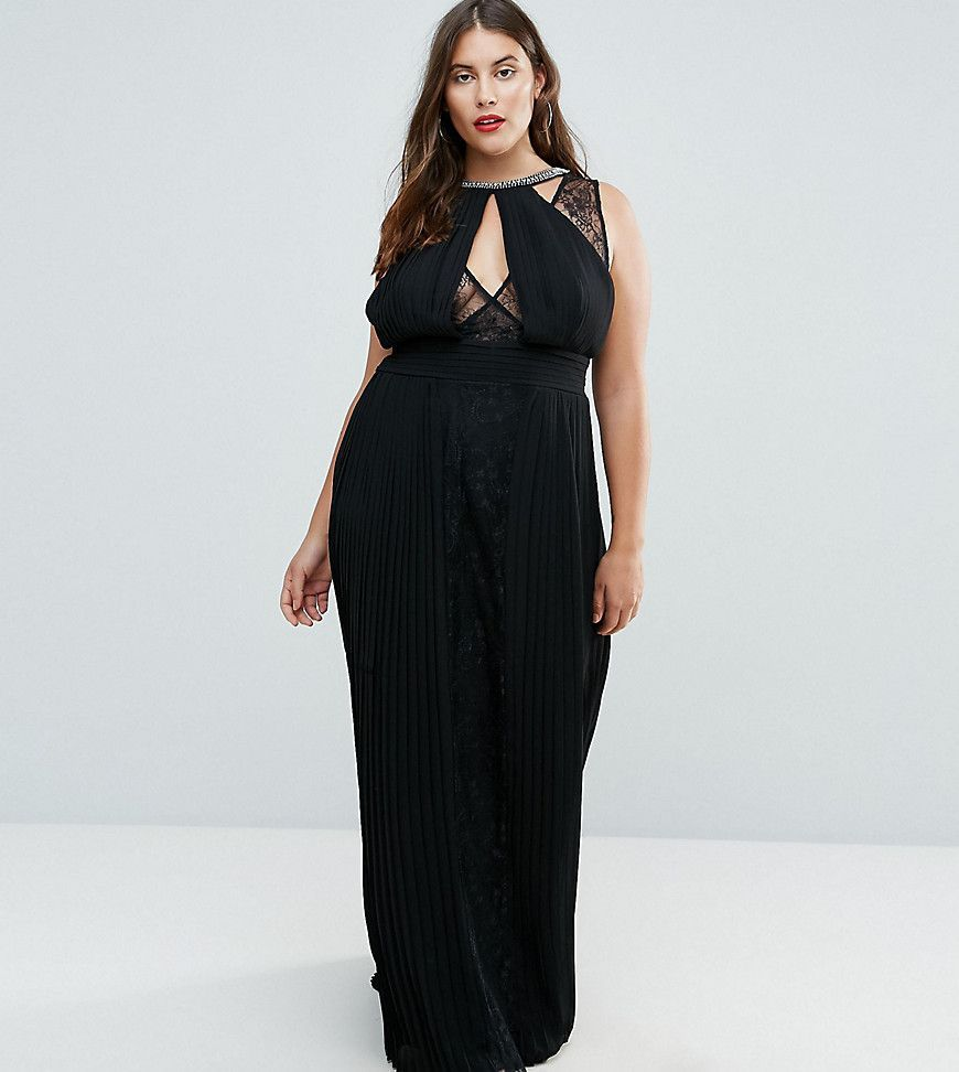 28807095a2 TFNC Plus High Neck Embellished Maxi Dress With Lace Insert - Black ...