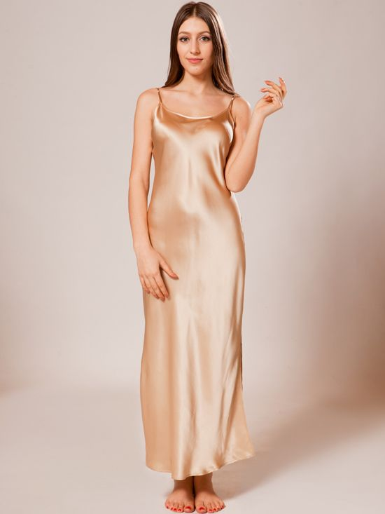 ecbb852e35d96 Shop the largest selection of champagne silk nightgowns at Ellesilk.com.  Enjoy ultra-smooth, soft and delicate touch of this superior silk.