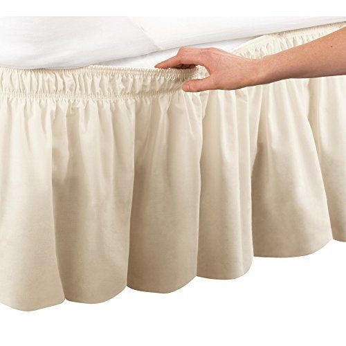 """WRAP AROUND EYELET LACE BED SKIRT DUST RUFFLE 14/"""" DROP"""