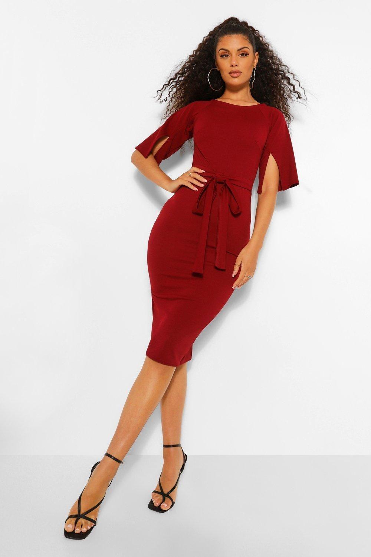 Split Sleeve Detail Wiggle Midi Dress Boohoo Red Midi Dress Brown Knee Length Dress Long Sleeve Swing Tops [ 1500 x 1000 Pixel ]