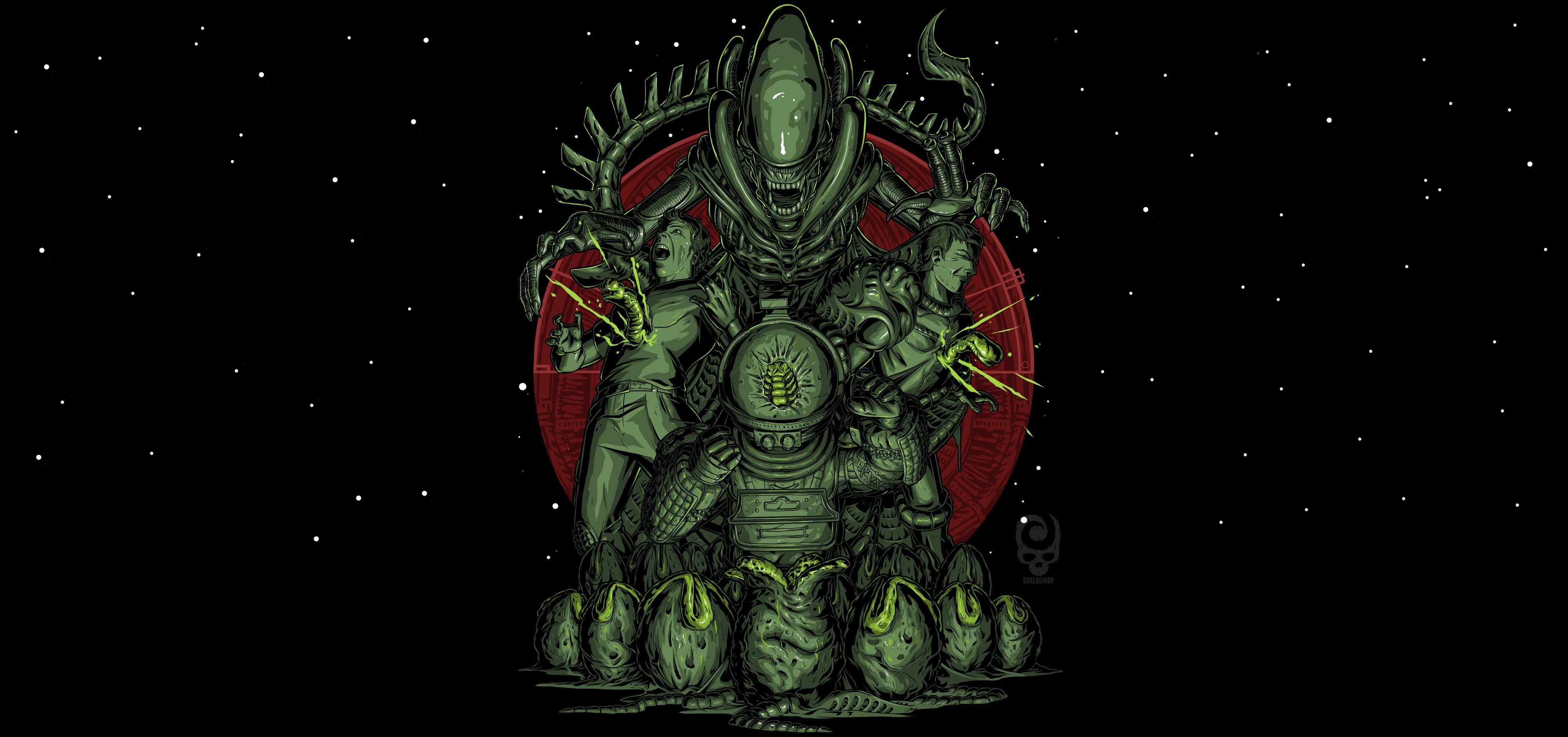 Artwork Science Fiction Horror Nikita Shalaginov Xenomorph Alien Movie 4k Wallpaper Hdwallpaper Desktop In 2020 Xenomorph Artwork Hd Wallpaper