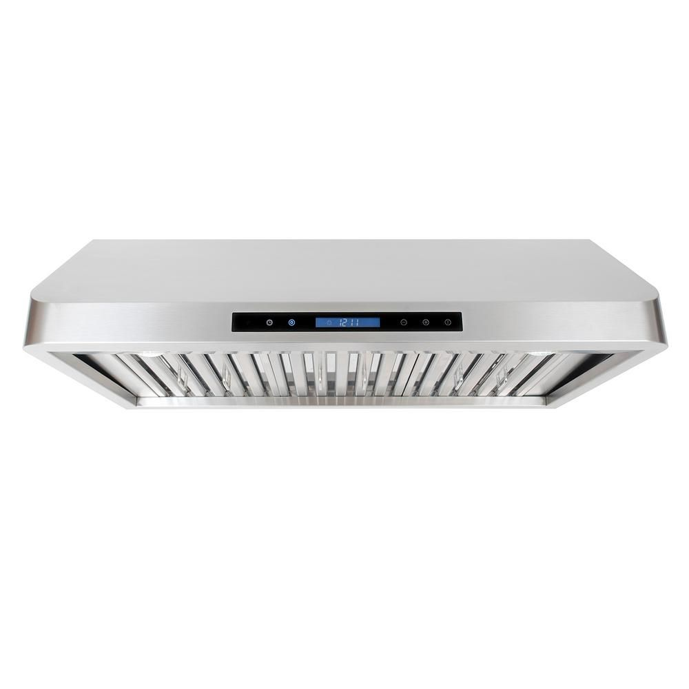 Cosmo 36 In Ducted Under Cabinet Range Hood In Stainless Steel With Touch Display Led Lighting And Permanent Range Hood Under Cabinet Range Hoods Led Lights