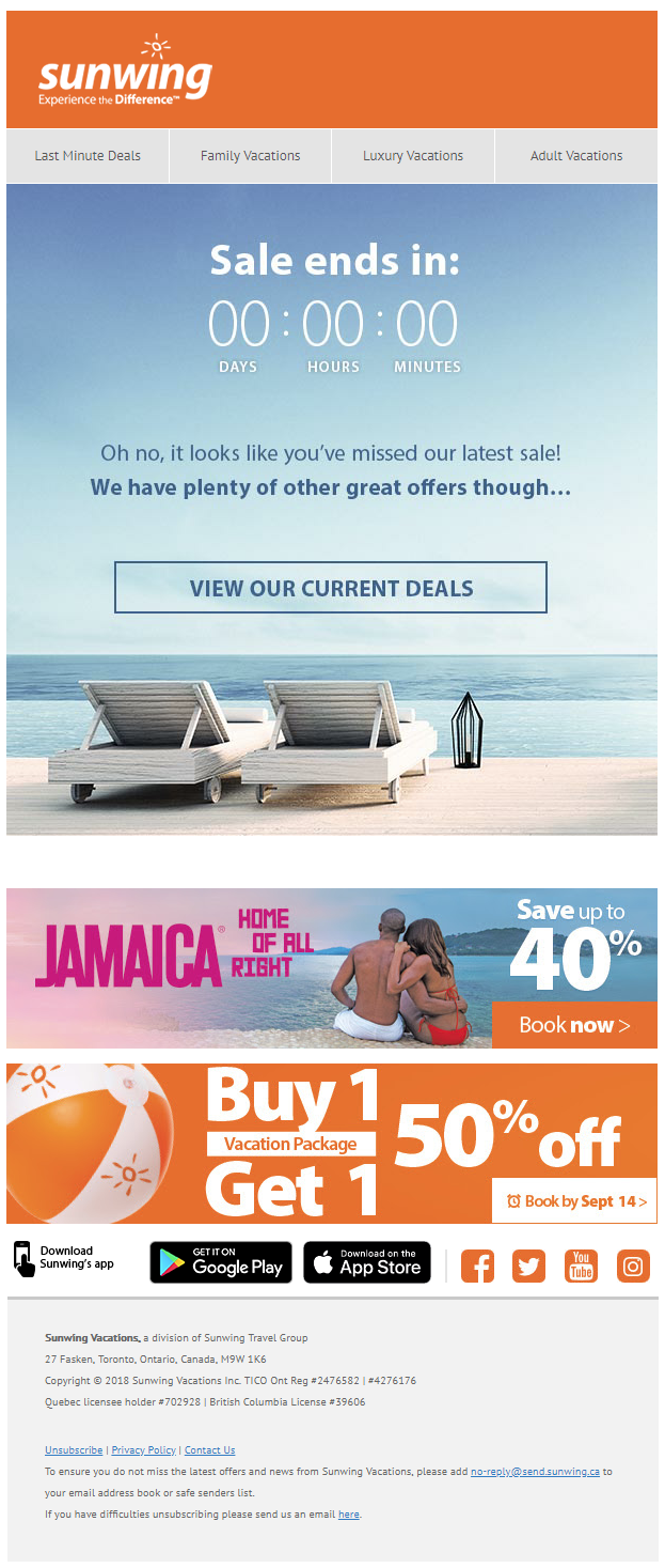 Countdown Timer Email From Sunwing Show Content In Real Time Including Changing The Messaging In The E Last Minute Travel Deals Vacation Deals Vacation Trips