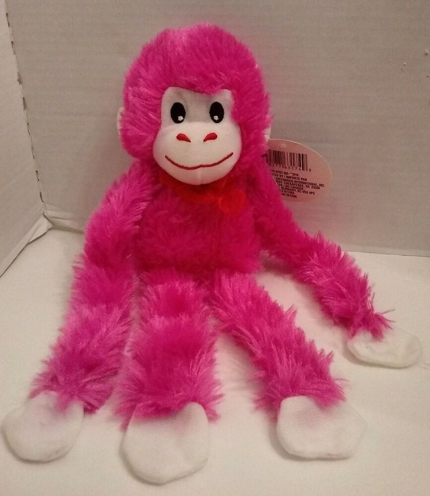 New Hot Pink Monkey Soft Toy 13 Plush Red Bow Hanging Sticky