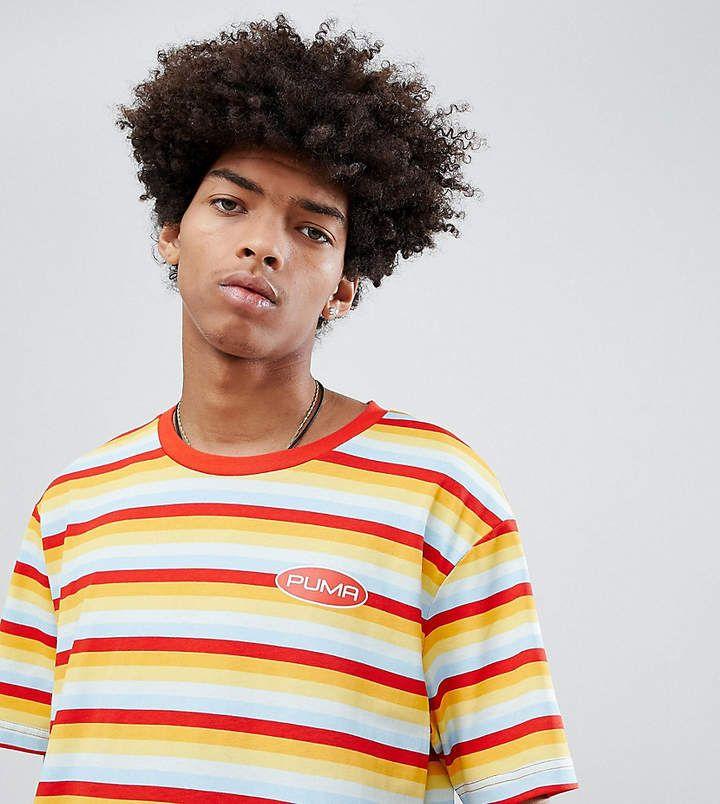 d44a8fcb3 Puma Organic Cotton Retro Stripe T-Shirt In Orange Exclusive To ASOS ...