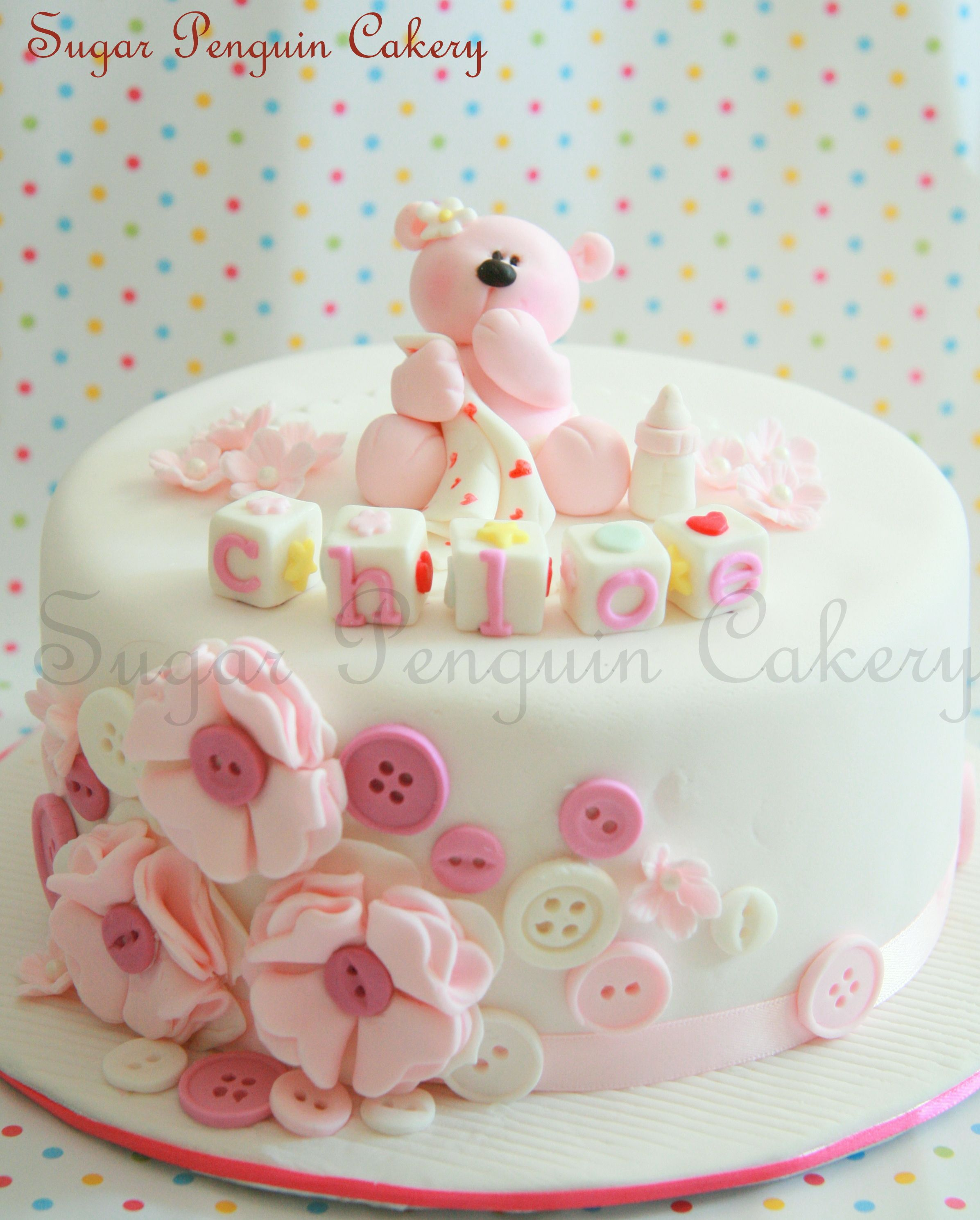 My Friend At Sugar Penguin Cakery Made This Little Cute Cake Inspired By My Hairclips Sugarpenguin Cupcake Cakes 1st Birthday Cake For Girls Teddy Cakes