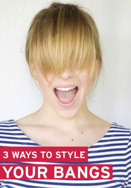 3 Ways To Style Your Bangs When They Re In That Pesky Growing Out Stage Growing Out Bangs Growing Out Hair Hairstyles With Bangs