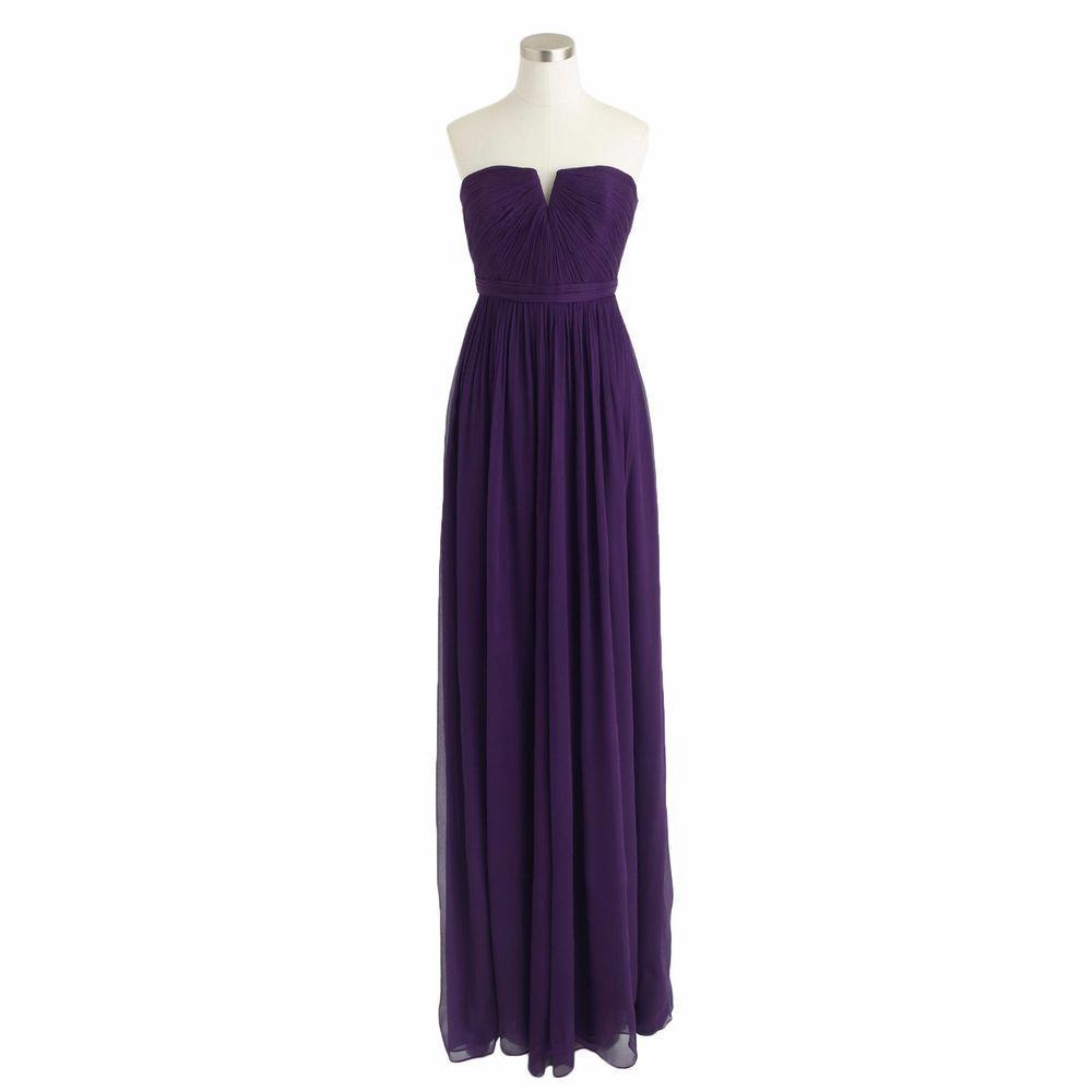 HALF PRICE!! J. Crew Nadia Dress Gown Silk Chiffon NWT Sz 6 Dark ...