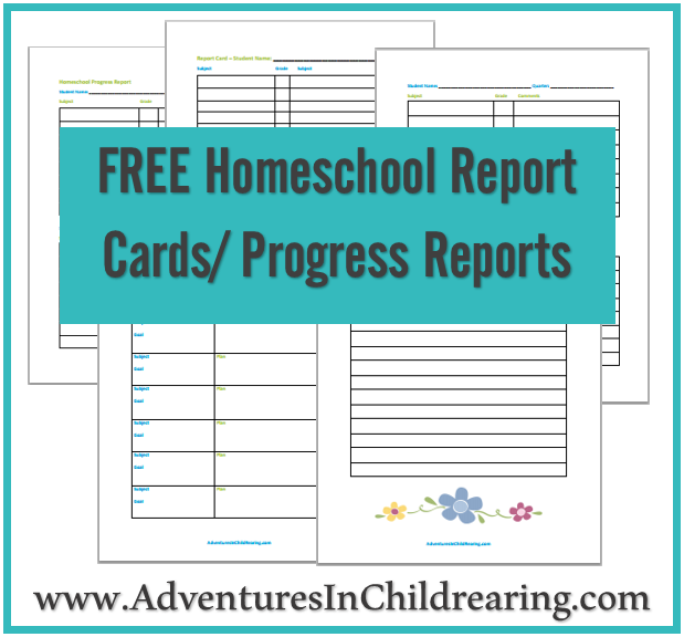 Free Homeschool Printable Progress Report And Report Card For