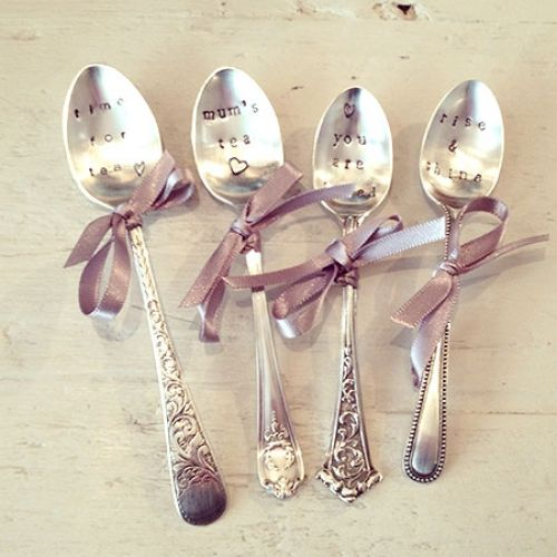 Hand Stamped Vintage Tea Spoons - such a gorgeous gift idea.