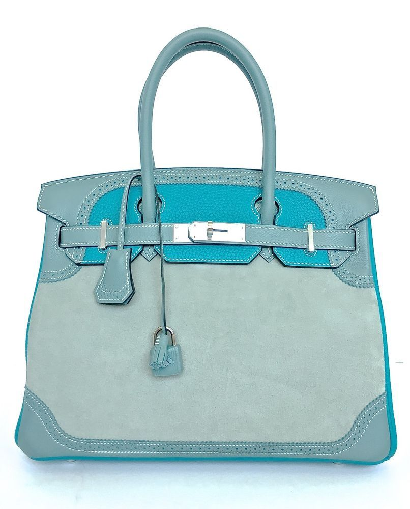 HERMÈS BIRKEN 30 BAG GRIZZLY DOBLIS GHILLIES CIEL TURQUOISE LTD. ED. NEW   fashion  clothing  shoes  accessories  womensbagshandbags (ebay link) 4ac57e2454eca