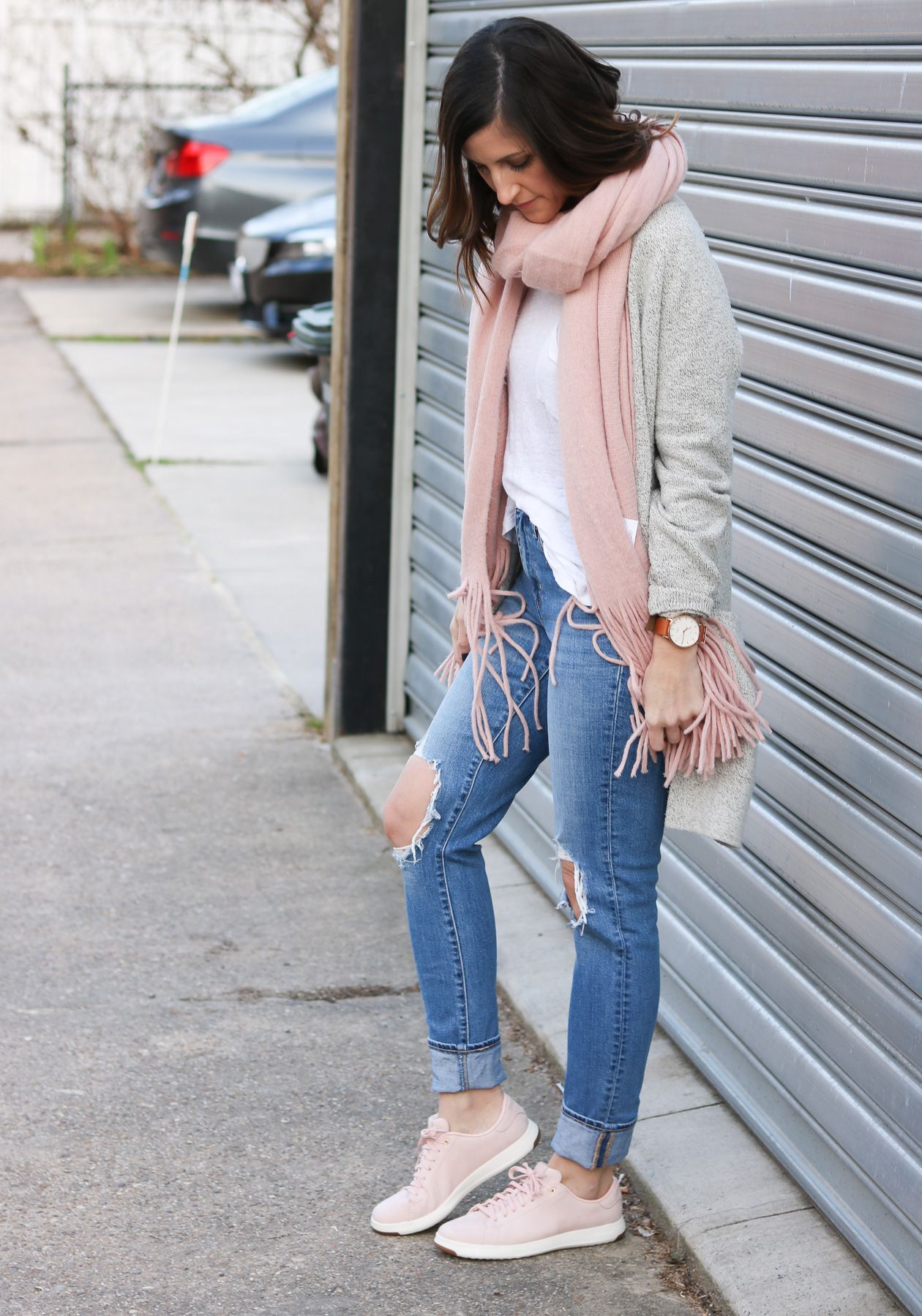 brilliant blush sneakers outfit women