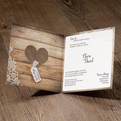 Hochzeitseinladung lisa klappkarte quadratisch - Hochzeitseinladungen mit spitze ...