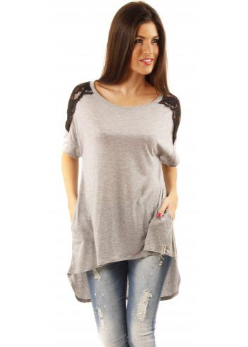 Maya Grey Jersey With Black Lace Detail Top
