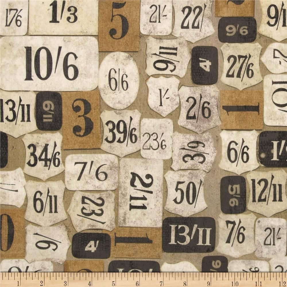 Tim Holtz PWTH009 Eclectic Elements Travel Label Taupe Cotton Fabric By Yard