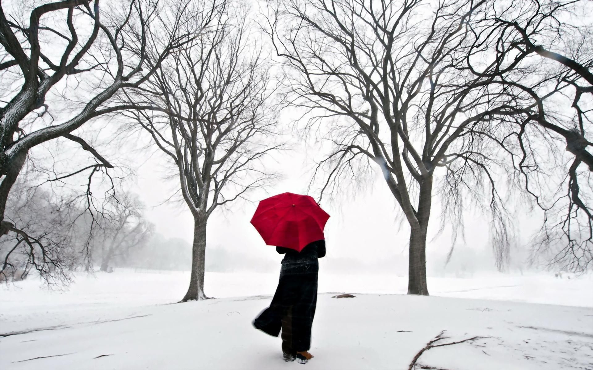 A GIRL WITH RED UMBRELLA ALONE IN WINTER WALL ART ON  CANVAS PHOTOS PICTURES