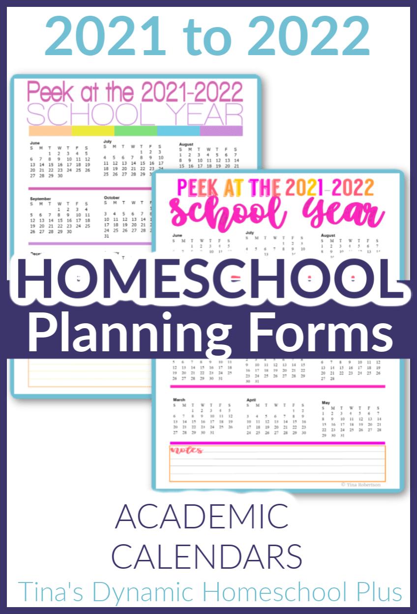 2021 2022 Academic Calendars – Homeschool Planner in 2020