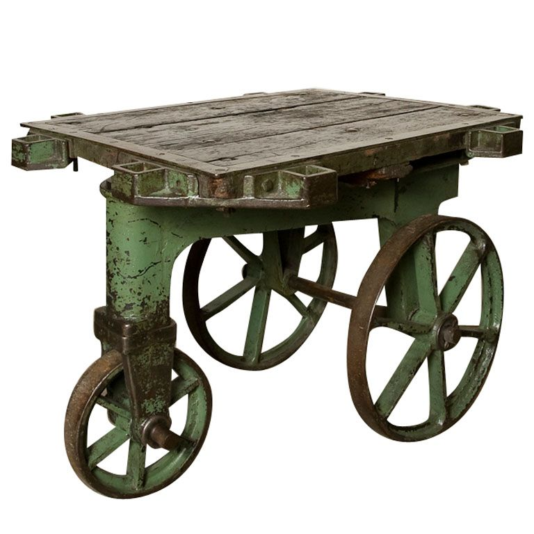 Early Tri Wheel Iron Industrial Factory Cart American C. 1900