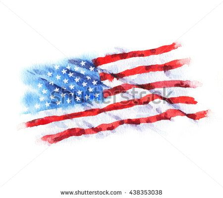 Hand Drawn Watercolor Flag Of The Usa Isolated On The White Background How To Draw Hands Stock Illustration Flag