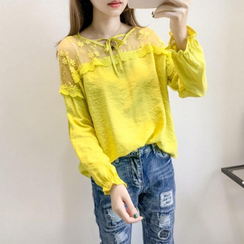 2a0b210412f Blusas Femininas 2017 Women Tops Lace Patchwork Linen Blouses Butterfly  Sleeve O Neck Blusas Loose S