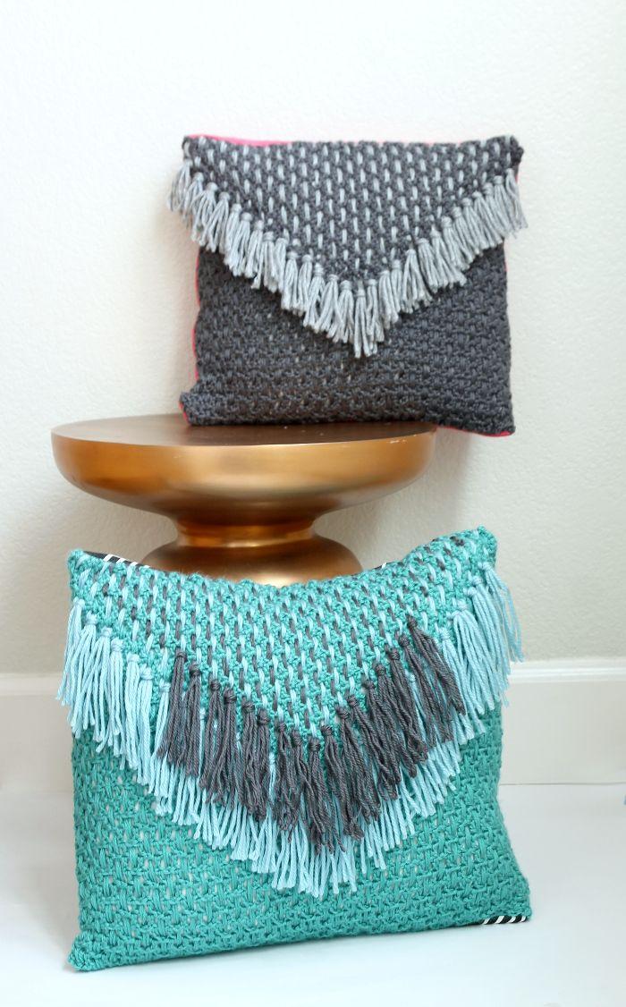 Woven Tassel Pillow - Free Crochet Pattern | Crochet - Pillows ...
