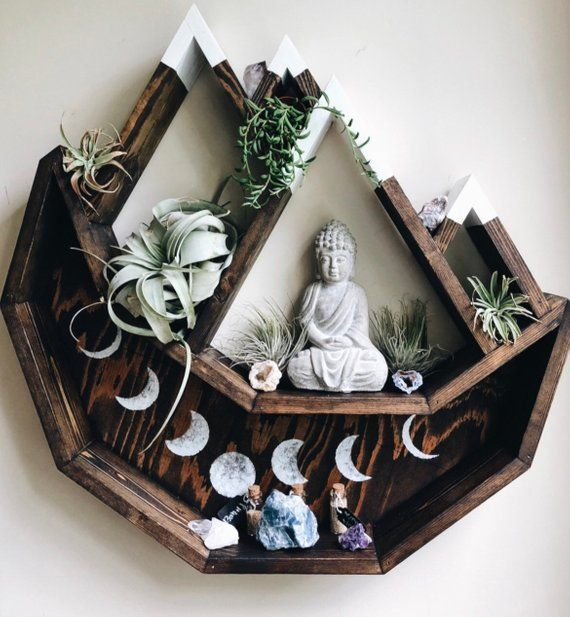 Moon Shelf, mountain shelf, essential oils shelf, crystal, moon phases, altar, wicca, witchcraft, meditation, yoga, space, spring decor - YOGA IDEAS