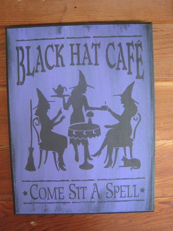 Handpainted Primitive Halloween sign Black Hat Cafe with Witches and Black  Cat 26e54d786906