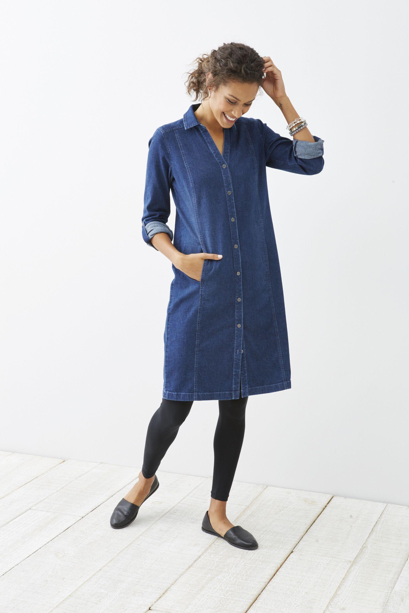 stretch-denim shirtdress | Outfits with leggings, Denim shirt ...