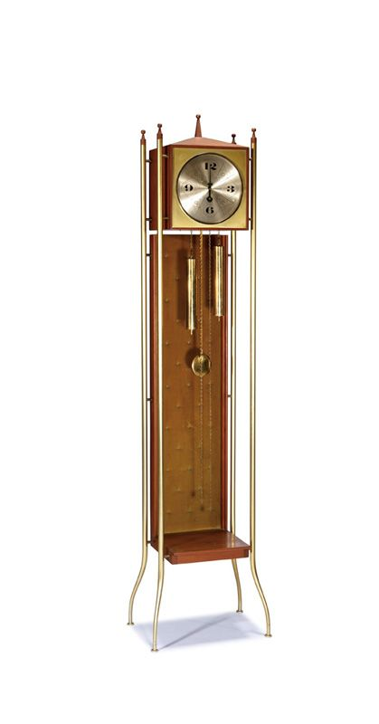 George Nelson Grandfather Clock Designed 1958 Walnut Brass Velvet Model No 2256 Howard Miller 71 X 14 X 10 Grandfather Clock Clock Antique Wall Clock