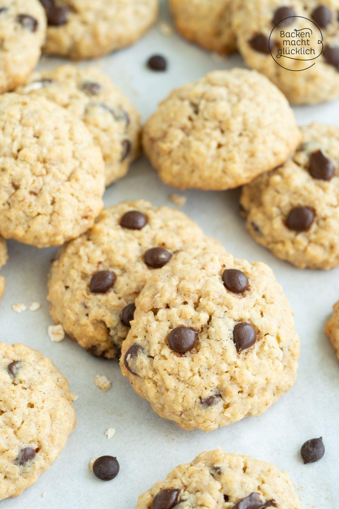 Einfache Haferflocken-Cookies mit Schokolade | Backen macht glücklich