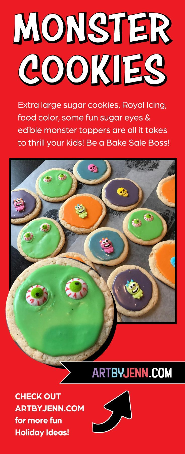 MONSTER COOKIES THAT THRILL! #bakesaleideas You don't have to be a famous baker to create these Halloween Monster Cookies! Thrill your family or become a Bake Sale Boss! Visit ARTBYJENN.COM for more fun Halloween ideas and products!  #monstercookies  #bakesaleboss  #halloween #bakesaleideas