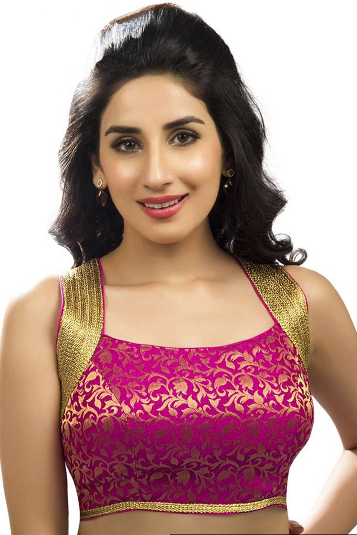 4d764f2f4e233c Dark pink   gold designer wear banarasi semi brocade enticing blouse -BL712